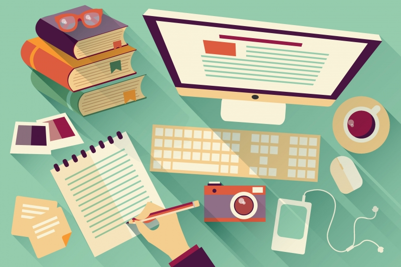 9545190-flat-design-objects-work-desk-long-shadow-office-desk-computer-and-stationery